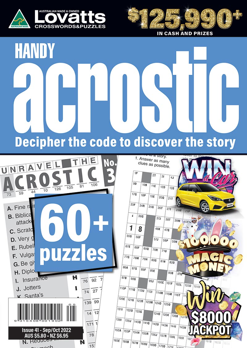 photograph about Acrostic Puzzles Printable named Effortless Acrostic journal - Lovatts Crossword Puzzles Video games